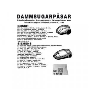 Dammsugarpåsar (5-pack) + 1 Filter Bosch / Siemens