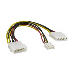 "Adapter Ström 4-pin Molex ha - 4-pin 3.5"" ho + Molex 4-pin ho  DEL-115"