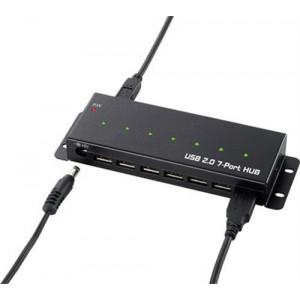 USB 2.0 hub, 7 portar, nätadapter medföljer, metallhölje, svart