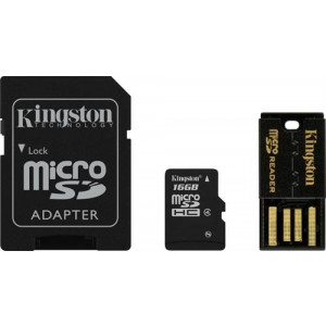 microSDXC 16GB - Kingston + SD + USB-Adapter
