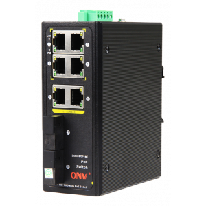 PoE-Switch Industriell, 6xRJ45, 2xSFP, 100Mbps, IP40, 30W
