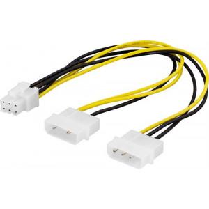 Adapter Ström 4-pin Molex x 2 - 6-pin PCI-E