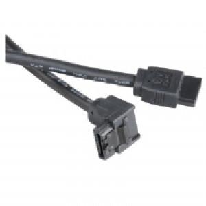 Kabel SATA vinklad-rak (0.5m) med låsklips