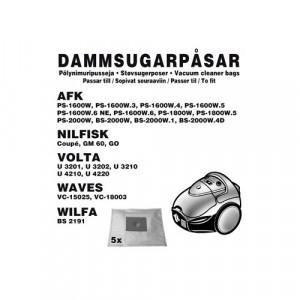 Dammsugarpåsar (5-pack) AFK / Nilfisk / Volta / Wi