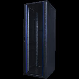 """TOTEN System A 19"""" golvskåp, 37U, 600x800, glasdörr fram, metall bak"""