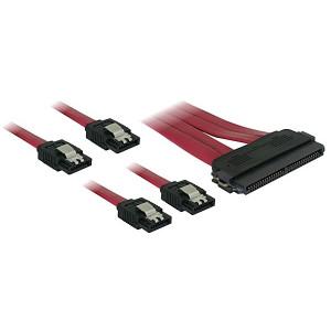 DeLOCK Cable SAS 32pin > 4x SATA metal (SFF 8484 - 4x SATA) 50cm 0.5m Röd SATA-kablar