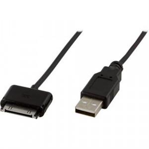 DELTACO USB-synk-/laddarkabel till iPhone, iPod och iPad, 2m, svart