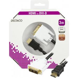 HDMI till DVI hane-hane monitorkabel eller för anslutning till TV. Guldpläterade kontakter.