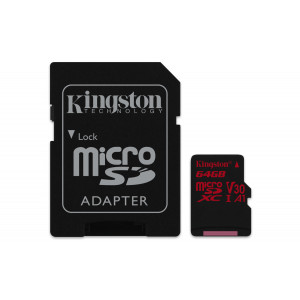 microSD Kingston 64GB microSDXC Canvas React 100R/80W U3 UHS-I V30 A1 +Adaptr