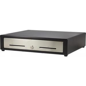 Kassalåda med elektrisk/manuell öppning, 4+8 fack, låsbar, svart/si