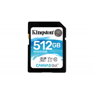 SD Card Kingston 512GB SDXC Canvas Go 90R/45W CL10 U3 V30