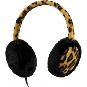 STREETZ hörlurar med mic, tygbeklädd, leopardmönster, brun/beige