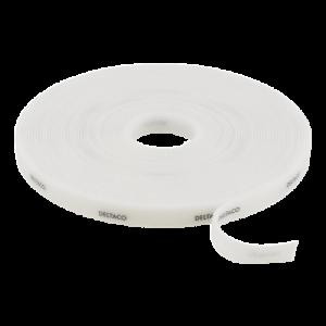 DELTACO kardborrband på rulle, bredd 9mm, 10m, vitt