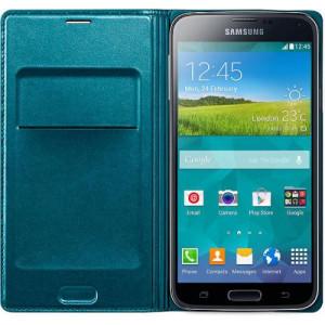 Fodral - Samsung Galaxy S5 - Flip Wallet Cover Gre