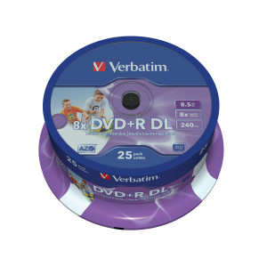 Verbatim DVD+R Double Layer Inkjet Printable 8x 8.5GB DVD+R DL 25styck
