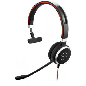 Headset Jabra EVOLVE 40 MS Mono, 3,5mm, USB, MS Lync, svart/röd