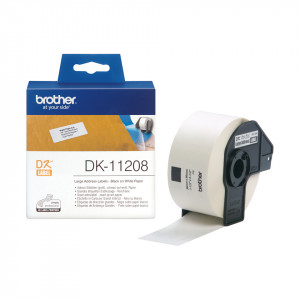 Brother DK-11208 Svart på vitt DK etikett-tejp