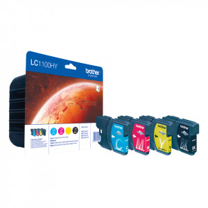 Brother LC-1100HY Svart, Cyan, Magenta, Gul Value Pack Original