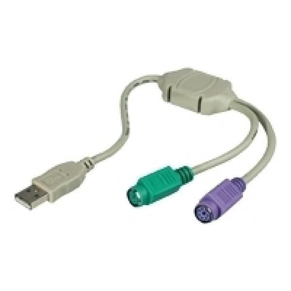 PS/2 hona till USB A hane aktiv adapter för mus och tangentbord