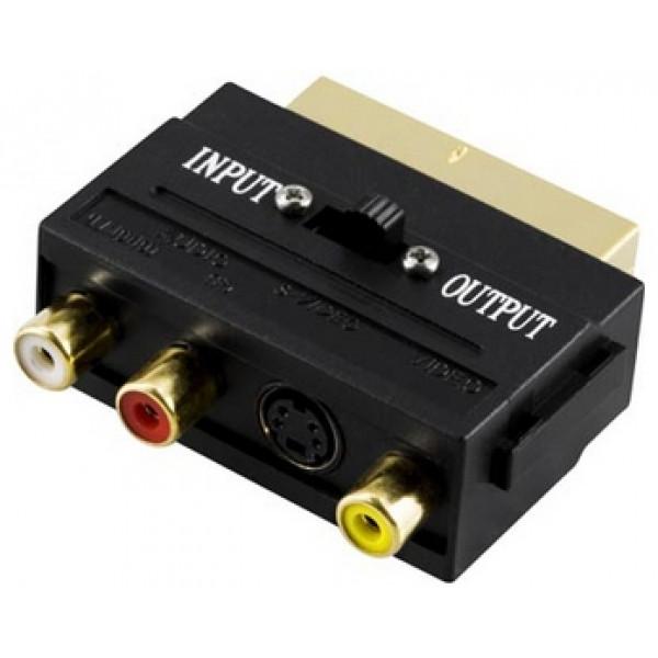Deltaco AA-15 3x RCA, S-Video Scart Svart kabeladaptrar