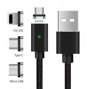 Magnetisk USB kabel till micro-USB USB-C Lightning Magnet-Kabel-USB