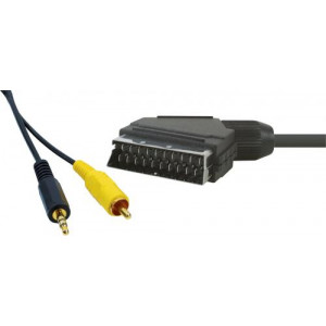 Scart - 3.5mm Stereo + RCA Video (15m)*