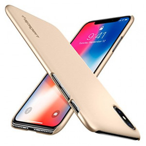 Super tunnt skal Spigen Thin Fit Case till iPhone X (2017) - Champagne Gold 057CS22111