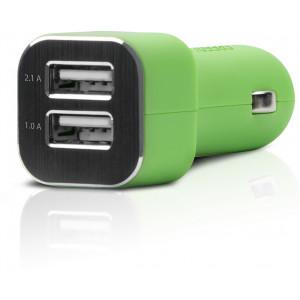 Billaddare Ciggadapter till USB 3.1A 2-port grön