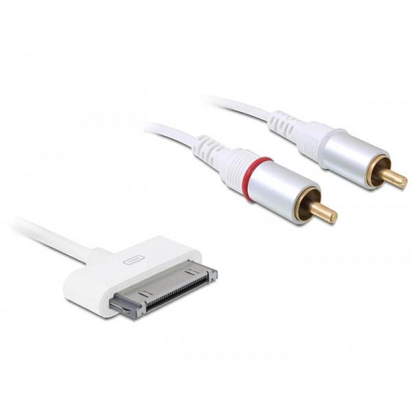 DeLOCK iPhone/iPod/iPad > 2 x RCA 1m 2 x RCA Vit mobiltelefonkablar
