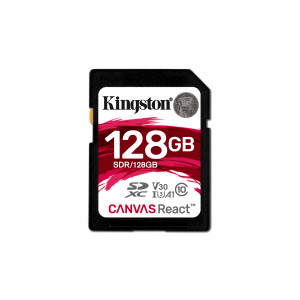 SD Card Kingston 128GB SDXC Canvas React 100R/80W CL10 UHS-I U3 V30 A1