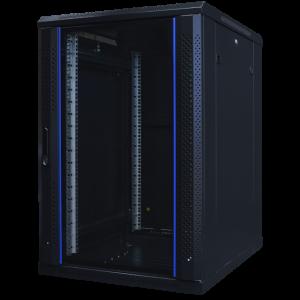 "TOTEN System A 19"" golvskåp, 18U, 600x800, glasdörr fram, perf bak"