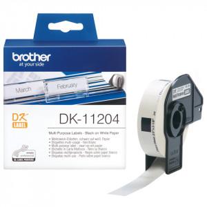 Brother DK-11204 Svart på vitt DK etikett-tejp
