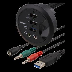 1*USB3.0, 2*USB2.0/BC1.2 Chaging,2*3.5mm audio jack for earphone/micro
