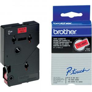 Brother TC-401 Svart på rött TC etikett-tejp