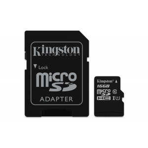 microSD - 16GB Kingston + Adapter 80MB/s