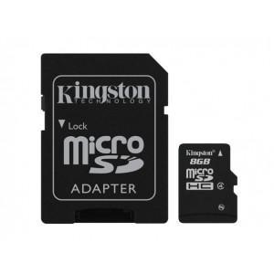 microSDHC  8GB Class  4 - Kingston (inkl adapter)