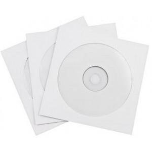 Pappersfickor för CD och DVD skivor (100-pack)