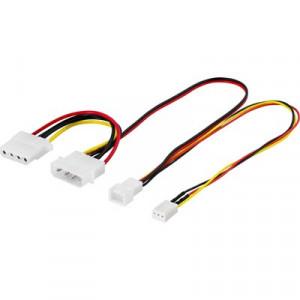 Adapter Ström 3-pin - 4-pin molex med mellanstycke