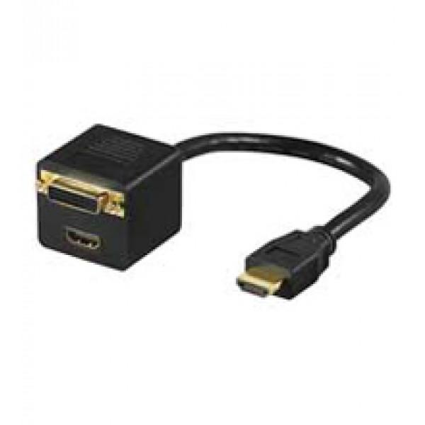 Goobay MMK ADAP HDMI > DVI-D + HDMI HDMI M DVI F + HDMI F Svart kabeladaptrar