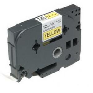 Brother Gloss Laminated Labelling Tape - 12mm, Black/Yellow TZ etikett-tejp