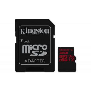 microSD Kingston 32GB microSDHC Canvas React 100R/70W U3 UHS-I V30 A1 +Adaptr