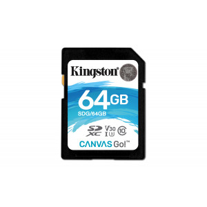 SD Card Kingston 64GB SDXC Canvas Go 90R/45W CL10 U3 V30