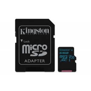 microSD Kingston 64GB micro SDXC Canvas Go 90R/45W U3 UHS-I V30 + SD Adapter