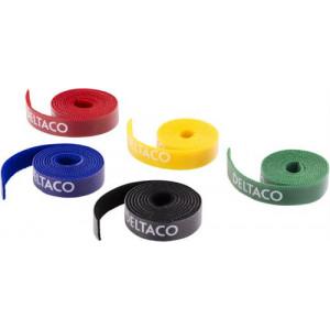 DELTACO kabelsorteringskit, kardborrband i olika färger, 5-pack