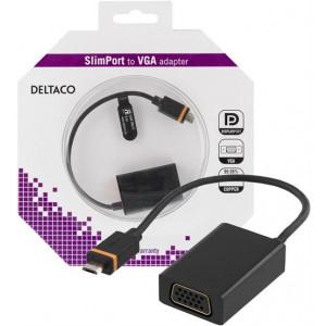 DELTACO Slimport till VGA-adapter, USB Micro B ha - VGA ho, svart