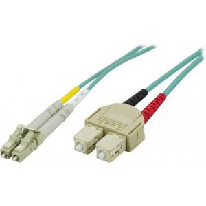 DELTACO OM3 fiberkabel LC - SC, duplex, multimode, 50/125, 0,5m