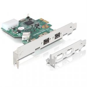 DeLOCK PCI express x1, firewire 800, 1+2x9-pin portar