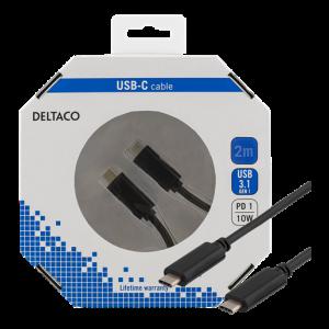 USB C till USB C kabel hane-hane (2m) GOLD svart