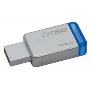USB minne Kingston DT50, 64GB USB 3.0, Metal/Blue