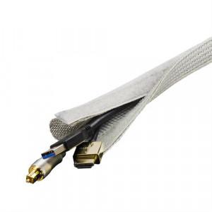 Kabelsorteringsstrumpa med kardborrband 3m grå.